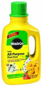Miracle-Gro 1001501 All Purpose Liquid Plant Food Jug, 32-Ounce by Miracle-Gro. $8.99. For all flower, vegetables, trees, shrubs and houseplants. instantly gives plants the nutrients they need to flourish. Concentrate. Analysis: 12-4-8. Simply mis with water for spectacular blooms and deep green foliage. From the Manufacturer                Miracle-Gro 1001501 32-Ounce All Purpose Liquid Plant Food                                    Product Description             ...