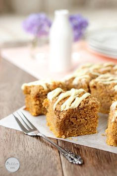 Pumpkin streusel layered sheet cake with white chocolate drizzle
