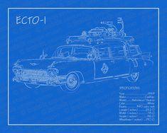 1959 Cadillac ECTO 1 blueprint 8x10 by WestsideDesignStudio