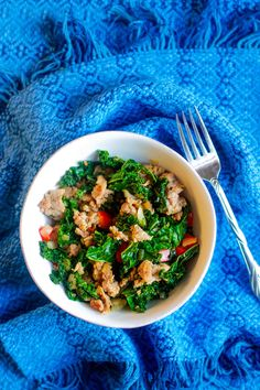 Sauteed onions, garlic, sausage, kale, and tomatoes. In olive oil, lemon juice and black pepper. ---ALSO SAW THIS IDEA: sautéed kale with bacon, drizzled with lemon juice and topped with poached eggs sprinkled with paprika YUM!