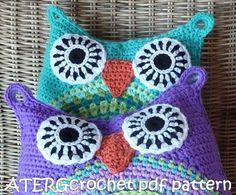 Crochet pattern owl cushion by ATERGcrochet in two by ATERGcrochet, €3.95