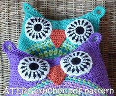 Crochet pattern owl cushion by ATERGcrochet by ATERGcrochet, €3.95