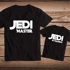 Jedi Master and Jedi In Training Custom Tee Tees Matching T-Shirts Parents and Kids Star Wars Tees Dad and Son Matching Shirts, bb85