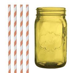 Dress My Cupcake DMC35204 Amber Yellow Vintage Jardin Mason Jar with Orange Striped Straws, 32-Ounce - http://cookware.everythingreviews.net/14062/dress-my-cupcake-dmc35204-amber-yellow-vintage-jardin-mason-jar-with-orange-striped-straws-32-ounce.html