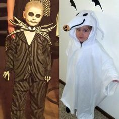 Here are my boys' Halloween costumes and make up this year.  Jack Skellington and Zero from The Nightmare Before Christmas!