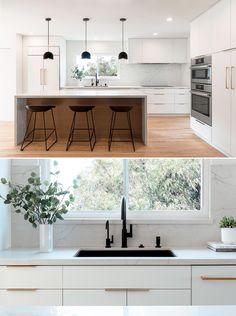 Kitchen Room Design, Kitchen Cabinet Design, Modern Kitchen Design, Interior Design Kitchen, White Kitchen Interior, Latest Kitchen Designs, Modern Kitchen Interiors, Modern Kitchen Cabinets, Wood Cabinets