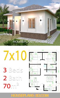 House Plans with Hip Roof. 19 House Plans with Hip Roof. House Plans with 3 Bedrooms Hip Roof 3d House Plans, Simple House Plans, House Layout Plans, Simple House Design, Modern House Plans, Tiny House Design, House Layouts, Modern Small House Design, Flat Roof House