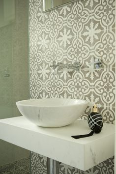 moroccan grey tiles splashback