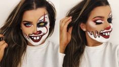 Looking for for ideas for your Halloween make-up? Navigate here for creepy Halloween makeup looks. Youtube Halloween, Halloween Tutorial, Halloween Inspo, Halloween Looks, Scary Halloween, Yeux Halloween, Halloween Makeup Clown, Halloween Makeup Tutorials, Cute Clown Costume