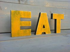 TEA or EAT kitchen sign - wood sign for kitchen decoration - distressed wooden letters, rustic:    Available NOT PAINTED, PAINTED and painted and