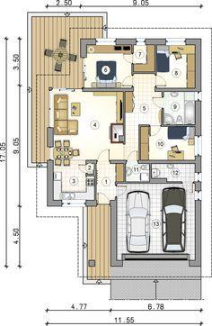 Rzut parteru projektu Winston X Narrow House Plans, House Layout Plans, Bedroom House Plans, Dream House Plans, Modern House Plans, House Layouts, House Floor Plans, Village House Design, Bungalow House Design