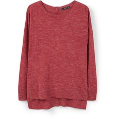 MANGO Flecked Sweater ($50) ❤ liked on Polyvore featuring tops, sweaters, jumper, shirts, red top, long sleeve jumper, long sleeve sweaters, long-sleeve shirt and mango shirt