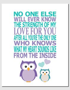 The Strength of My Love- Purple Aqua Teal Kids Wall Art Nursery Art Children's by vtdesigns