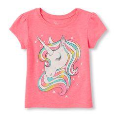 s Toddler Short Sleeve Rainbow Unicorn Glitter Graphic Tee - Pink T-Shirt - The Children's Place