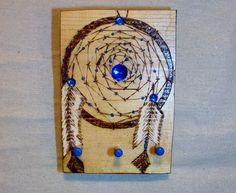 key rack three peg dream catcher pyrography wood burned blue embellishements 5x7…
