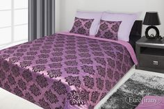 Modna fioletowa narzuta do sypialni z ornamentem