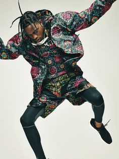 After releasing a couple of attention-grabbing mix tapes, Houston-born rapper Travis Scott debuted his acclaimed album Rodeo late last year. Scott wears a NikeLab x RT jacket ($225), T-shirt ($75), and shorts ($120); nike.com/nikelab. Nike tights and sneakers.