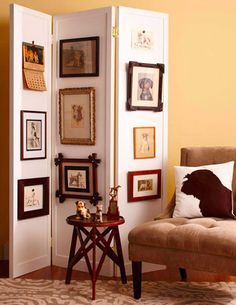 DIY idea! Create your own Vintage Art Folding Screen.  For ideas on how to decorate with a folding screen, go to http://decoratingfiles.com/2012/08/folding-screen/
