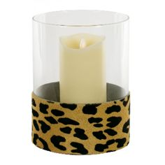 Hurricane lamp with a Leopard Print cowhide band by Angel Des Montagnes gives a stunning update to the everyday Hurricane lamp. The Hurricane adds a Outdoor Mirror, Hurricane Lamps, Event Planning Design, Centre Pieces, Band, Table Centerpieces, A Table, Candles, Outdoor Living