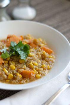Corn Quinoa and Sweet Potato Chowder. - The Pretty Bee