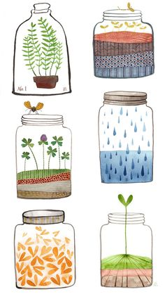 i saved a little piece of happiness in each one: fill page with jars, draw and label as appropriate