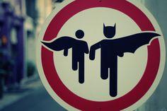 Caution. Superhero Crossing.