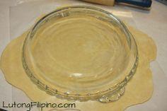 Add dough to pie pan Egg Pie Recipe Filipino, Filipino Recipes, How To Make Eggs, Pie Pan, Pie Dish, Pie Recipes, Cake Recipes