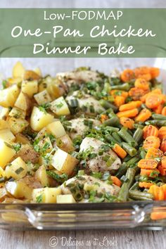 Low-FODMAP One-Pan Chicken Dinner Bake - Delicious as it Looks chicken thigh recipes low fodmap Fodmap Recipes, Diet Recipes, Chicken Recipes, Healthy Recipes, Fodmap Foods, Recipes For Ibs, Ibs Recipes Dinner, Crohns Recipes, Potato Recipes