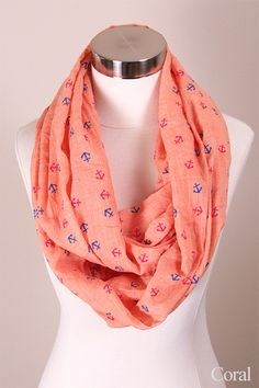 - women fashion infinity scarf - 28x36 30% Cotton 70% Viscose - small solid color anchor pattern