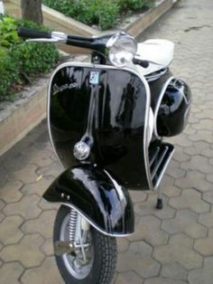 Black retro Vespa