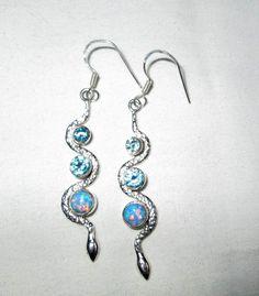 EARRINGS - FIRE OPAL - Snake - Blue Topaz - 925 -Fish Hook - Dangle - Sterling Silver earrings 351 by MOONCHILD111 on Etsy