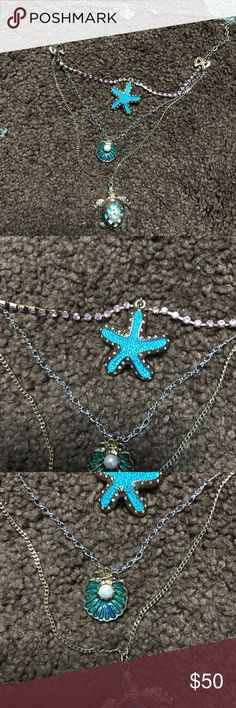BETSEY JOHNSON multilayered sea necklace 🌊 ocean themed necklace. I love how light this is and very wearable unlike some other betsey pieces. This particular blue is very beautiful and it sure does remind you of sea life Jewelry Necklaces