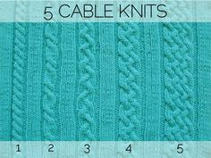 "Pattern - 5 Cable Knits - Luxe DIY - How Did You Make This? ""Pear2,Knit4,Pearl2"" Knit=""Plain"" as well"