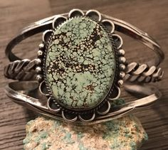 Old Pawn Fred Harvey Era Navajo Sterling & Rare Peacock Turquoise Cuff Bracelet #UNBRANDED