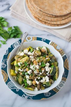 Mediterranean Roasted Vegetable and Chickpea Salad with Zucchini and Eggplant #vegetarian #glutenfree