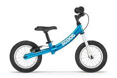 """Turkusowy z białym widelcem rowerek biegowy Ridgeback Scoot posiada 16-centymetrową regulację wysokości siodełka 34 - 44 - 50 cm (dzięki dwóm wymiennym sztycom), regulowaną na wysokość kierownicę bez blokady skrętu, pompowane opony 12½"""", hamulec tylnego koła, a waży blisko 5,1 kg."""