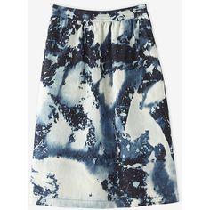 A-line denim skirt with custom bleach indigo tie-die
