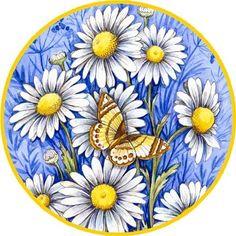 Daisy Blues Outdoor Flag by Magnet Works Vintage Pictures, Vintage Images, Illustration Blume, Blue Daisy, Decoupage Vintage, Outdoor Flags, Silk Painting, Flower Art, Collage