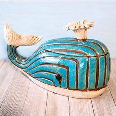Dive into the cookie stash without regret with this beautiful, ceramic Whale Cookie Jar. It , along with tons of unique pieces of kitchen and home décor, at Femail Creations. Kinds Of Cookies, Cute Cookies, Whale Cookies, Tropical Kitchen, Whale Decor, Cookie Jars, Ceramic Cookie Jar, Biscuits, Vintage Cookies