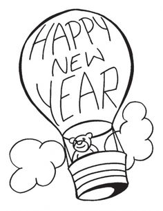 in a hot air balloon this buddy wishing you a happy new year coloring pages