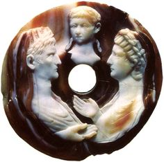 August, Livia and Nero.  Sardonyx. Mid-1st century. Diameter 8.3 cm. Reworked twice: in the fifties of the 3rd century and during the Renaissance period. Inv. No Ж 149. Saint-Petersburg, The State Hermitage Museum.