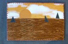 Handmade Quilted Fabric Postcard Sailing into the by SewUpscale, $11.00
