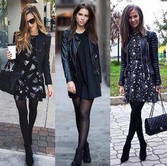 Tres ideas e vestidos con medias # Casual Outfits oficina 2018 Black Dress Outfits, Winter Dress Outfits, Fall Winter Outfits, Classy Outfits, Casual Outfits, Dresses In Winter, Skirt Outfits, Dress Black, Summer Outfits