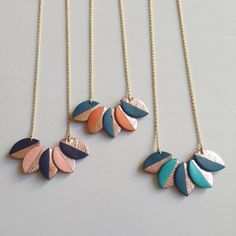 Metallic and Pastel leather leaf necklaces