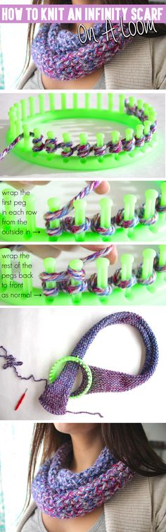 How To Knit An Infinity Scarf On A Loom - Click on the picture to see the full tutorial! :)