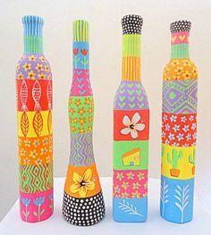 reciclado de frascos y botellas - colores diseño reciclaje pintura arte