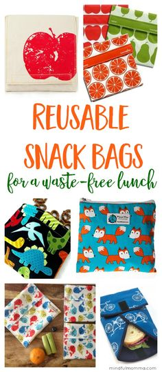 Roundup of reusable snack bags that are perfect for back-to-school lunches, on-the-go snacks, traveling and more! | Snack sacks | Sandwich wraps | waste free lunch | zero waste | reusable products | kids lunch gear via @mindfulmomma