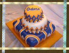 Cakes By Jessicca: Florida Gators Orange, Blue, and White Whimsical Fondant Cake