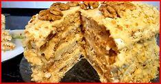 """Acest tort este unul dintre cele mai gustoase deserturi preparate până acum. Tortul va fi apreciat îndeosebi de cei care adoră nucile și arahidele. Tortul este format din blaturi de bezea aerată și delicioasă și cremă aromată de lapte condensat fiert. Această rețetă seamănă foarte mult cu cea a tortului """"Kiev"""", dar modul de preparare este mult mai simplu. Surprindeți-vă familia și oaspeții cu un tort minunat! INGREDIENTE PENTRU BLAT -4 ouă -200 g de zahăr -1/2 linguriță de suc de lămâie sau… Russian Desserts, Russian Recipes, Potato Cakes, Food Cakes, How Sweet Eats, Cake Cookies, Food Photo, Cake Recipes, Sweet Tooth"""