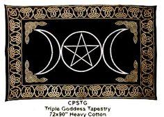 "Triple Goddess Tapestry, Blk/Gld 72""x108"""